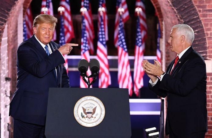 De Amerikaanse president(skandidaat) Donald Trump en zijn 'running mate' Mike Pence in Baltimore.