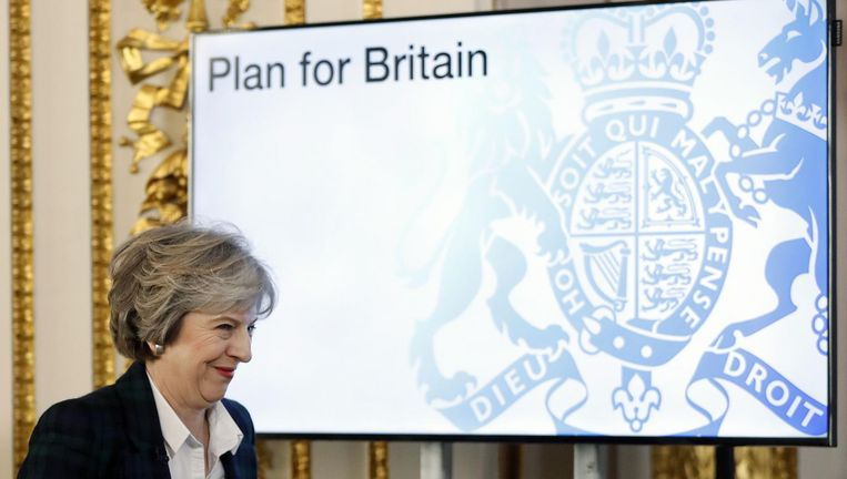 In januari van dit jaar ontvouwde de Britse premier Theresa May in Londen al haar eerste schetsen van een Groot-Brittannië na de Brexit. Beeld afp