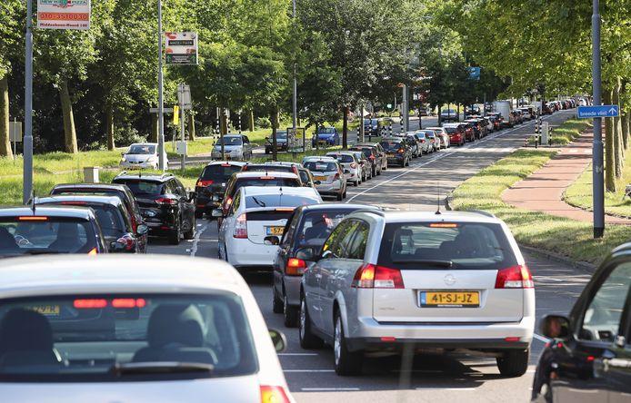 Verkeer loopt elke avond vast op de Aveling in Hoogvliet. 80 procent van dat verkeer komt uit Spijkenisse en de rest van Voorne-Putten, blijkt uit een meting.