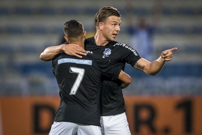 Vreugde bij FC Eindhoven-speler Mart Lieder na zijn goal tegen RKC.