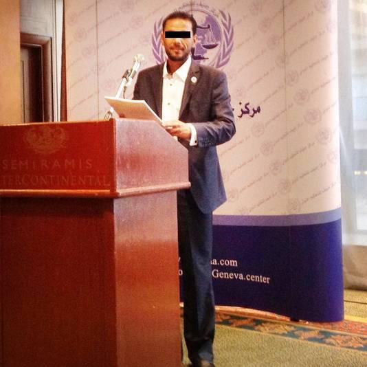 Bij een conferentie in Caïro.