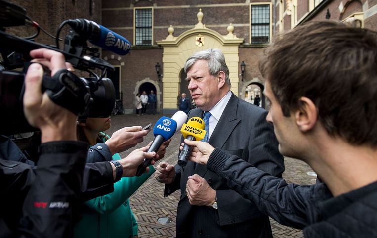 Minister Opstelten van Veiligheid en Justitie vandaag op het Binnenhof. Beeld anp