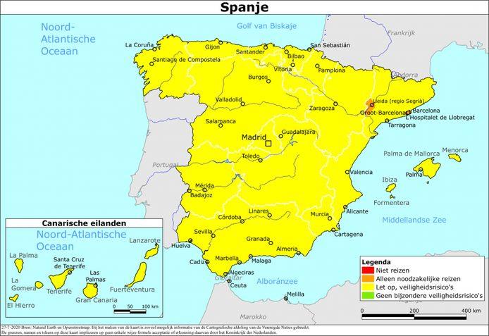 Reiskaart Spanje zoals die door het ministerie in Nederland wordt aangeboden. De Europese infectiekaart ziet er anders uit, daar verwijzen de kleurcoderingen naar de besmettingen.