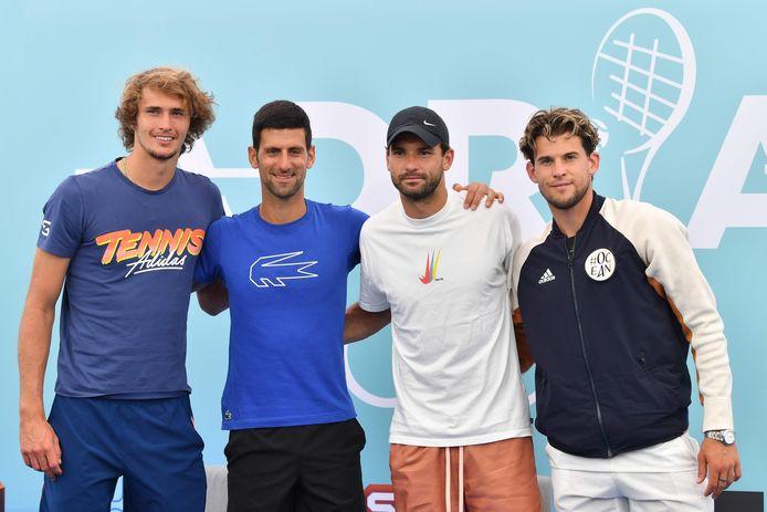 Zverev, Djokovic, Dimitrov en Thiem.