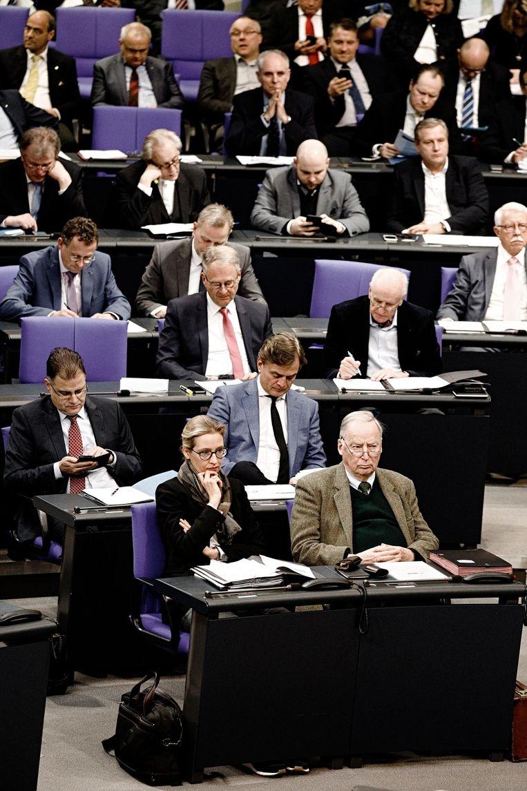 De welgevulde AfD-bankjes, met vooraan Alice Weidel en Alexander Gauland. Beeld Daniel Rosenthal / de Volkskrant