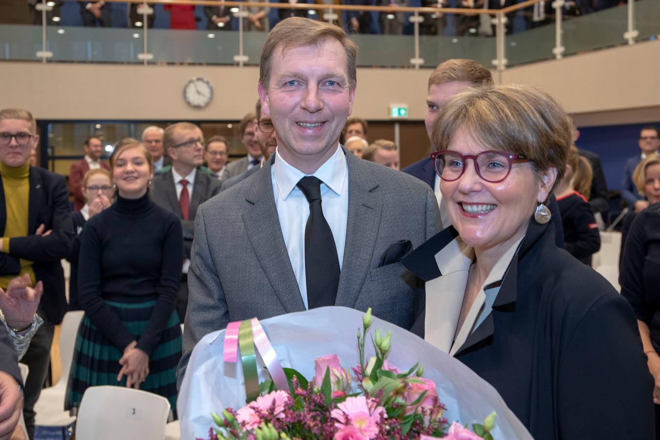 Burgemeester Gert-Jan Kats met zijn vrouw Jantine.
