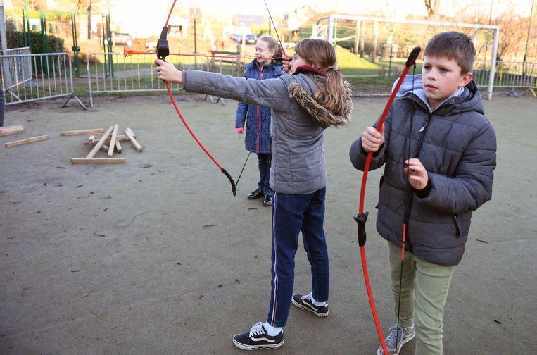 De leerlingen tijdens de workshop avonturier