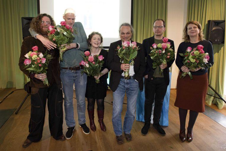 Jeroen Olyslaegers, Walter van den Berg, Lize Spit, Alfred Birney, Arnon Grunberg (op de foto zijn plaatsvervanger Jasper Henderson) en Marja Pruis zijn genomineerd voor de Libris Literatuur Prijs.