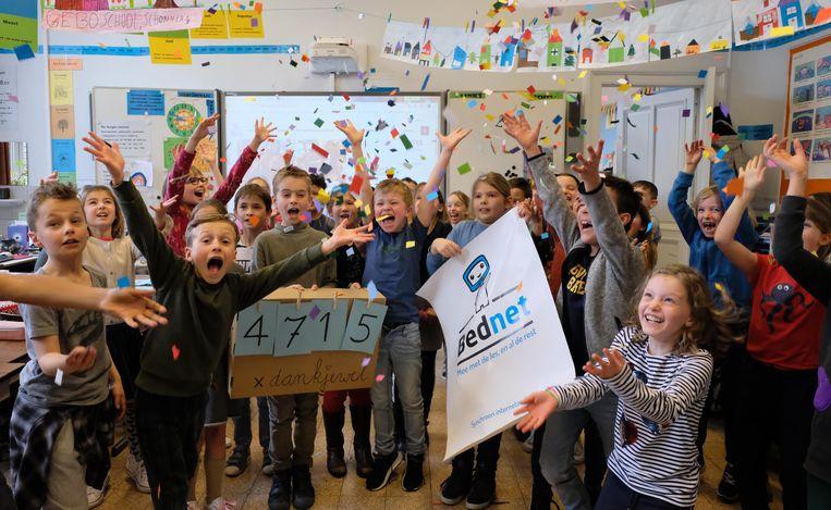 De leerlingen van klas 3A van de lagere gemeenteschool zijn dolgelukkig én dankbaar met de 4.715 stemmen die ze kregen.
