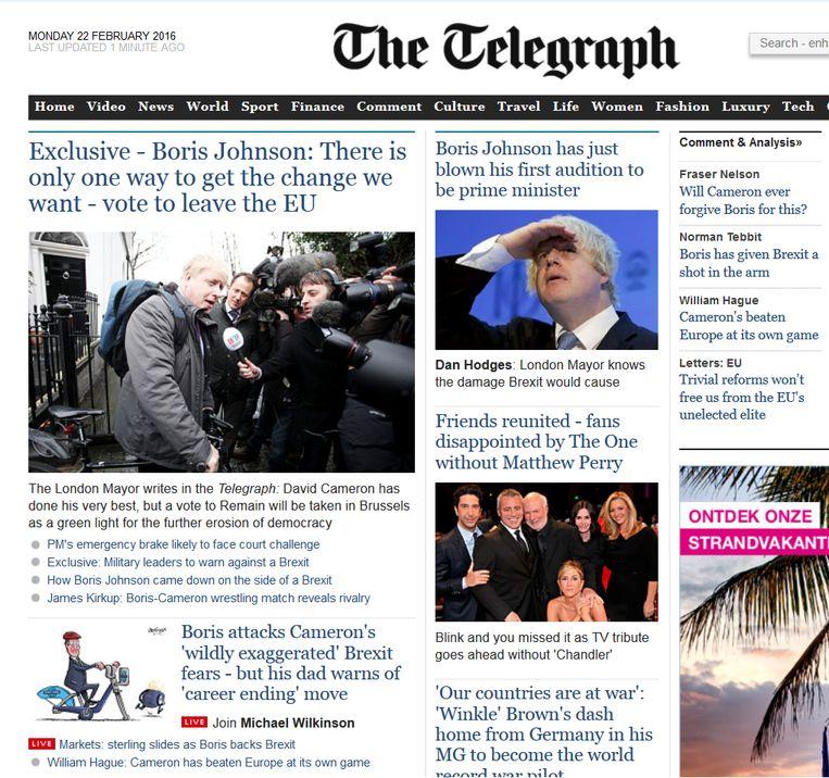 De website van The Telegraph maandagochtend: vijf artikelen over Boris Johnsons Brexit. Beeld The Telegraph