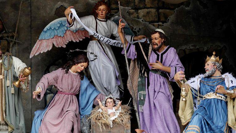 Een kerststal op het Mangerplein in Bethlehem. Beeld afp