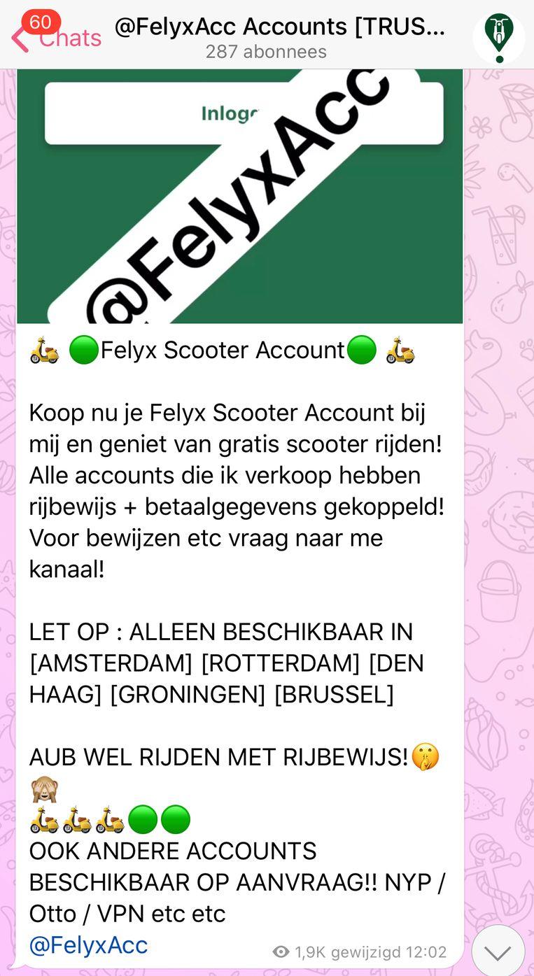 Felyx-accounts worden aangeboden via chat-app Telegram. Beeld Het Parool