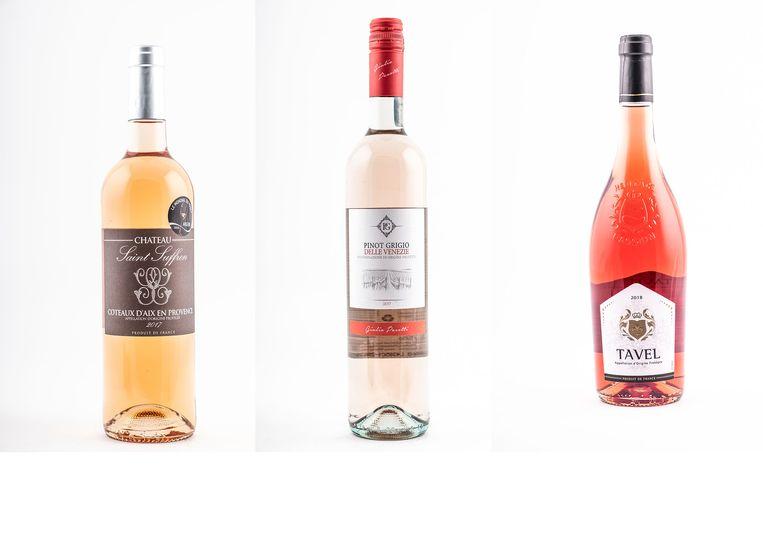 De roséwijnen van Lidl, van links naar rechts: Château Saint-Suffren, Pinot Grigio delle Venezie en Tavel.