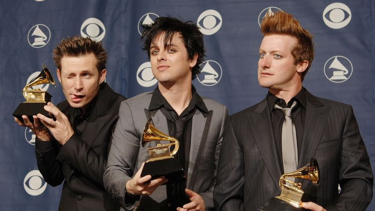 Bandleden Mike Dirnt (links), Billie Joe Armstrong en Trey Cool.