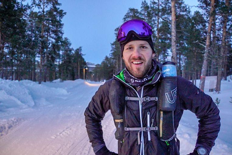 Wim in actie tijdens Beyond the Ultimate Ice Ultra in het Zweedse gedeelte van Lapland.