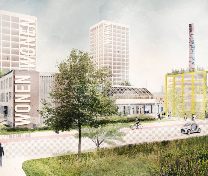 Impressie van de nog niet uitgewerkte plannen voor het Campinaterrein in Eindhoven: zicht vanaf de Ring met rechts de nieuwe parkeergarage. Daar zijn bezwaren tegen maar de bouw is noodzakelijk omdat het bouwwerk dienstdoet als geluidswal.