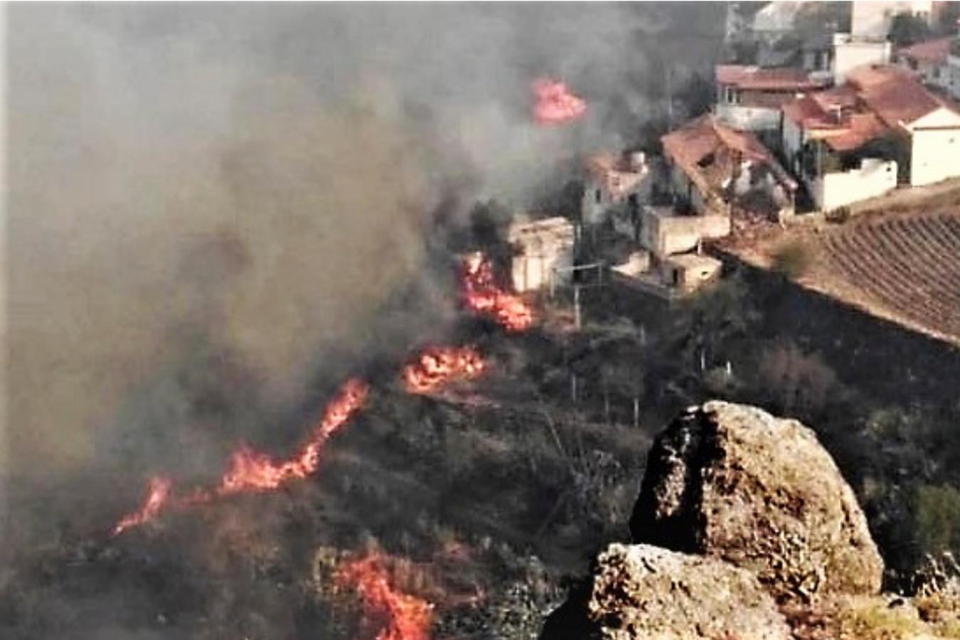 Vlammen bereiken El Rincon del Nublo bij Tejeda.