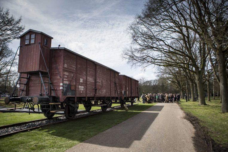 Een goederenwagon gebruikt voor de deportatie van Joden, Roma en Sinti. De wagon is onderdeel van het Herinneringscentrum Kamp Westerbork, het Nederlandse doorgangskamp van waaruit  honderdduizend mensen naar de nazi-vernietigingskampen in bezet Oost-Europa zijn gebracht.