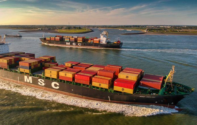 Containerschepen MSC Line op de Westerschelde.