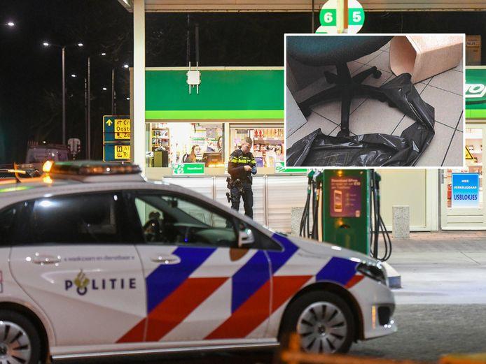 Agenten doen op 20 maart 2020 onderzoek na de overval op het BP benzinestation aan de Burgemeester Bruins Slotsingel in Alphen. Op de rol met vuilniszakken in het kantoor van het BP tankstation zijn volgens het OM de vingerafdrukken van Alphenaar Yasin S. (25) gevonden.