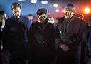 Koning Willem-Alexander, koningin Máxima en premier Mark Rutte tijdens de 75-jarige bevrijding van het voormalige Duitse concentratie- en vernietigingskamp Auschwitz-Birkenau.