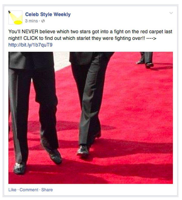 Een fictief voorbeeld van click-bait op Facebook. Celeb Style Weekly is geen bestaande nieuwsorganisatie, maar als voorbeeld bedacht door Facebook. Beeld Facebook