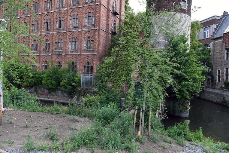 Achter het groen is nog een van de twee middeleeuwse torens te zien. Links ervan, aan het grijze hek, komt de voetgangersbrug.