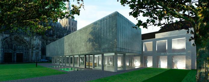 Schets van het nieuwe Sint-Jansmuseum aan de zijde van de Hinthamerstraat.