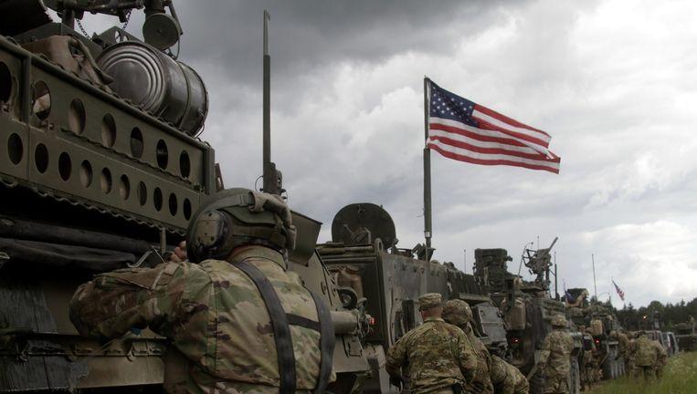 Amerikaanse militairen maandag op oefening. Beeld EPA