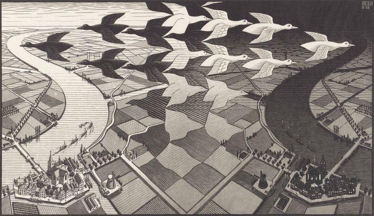 M.C. Escher, 'Dag en Nacht' (1938), 67,7 x 39,1 cm. © the M.C. Escher Company B.V. Beeld the M.C. Escher Company B.V. All rights reserved. www.mcescher.com