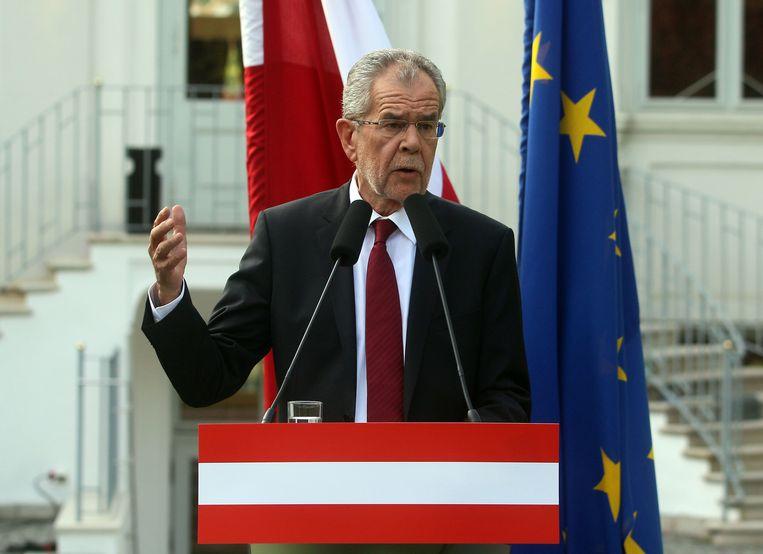 Alexander van der Bellen, tijdens zijn speech maandag. Beeld ap