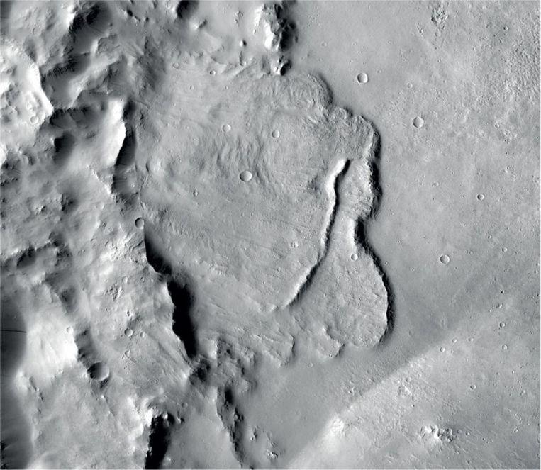 Een foto gemaakt door de Europese sonde Mars Express.