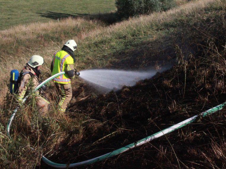 De brandweer kon de brandende berm snel blussen.