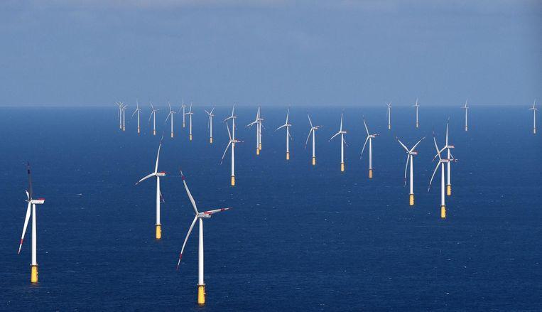 Een zeewindpark van Vattenfall, 70 kilometer ten westen van het Duitse eiland Sylt. Beeld null