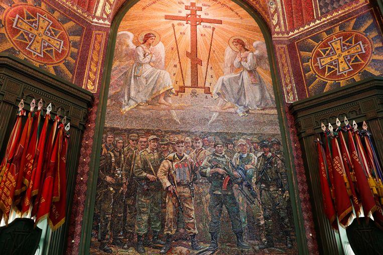 Een mozaïek aan de binnenkant van de kathedraal waarop de wederopstanding van Jezus wordt weergegeven. Beeld Mikhail Metzel/TASS