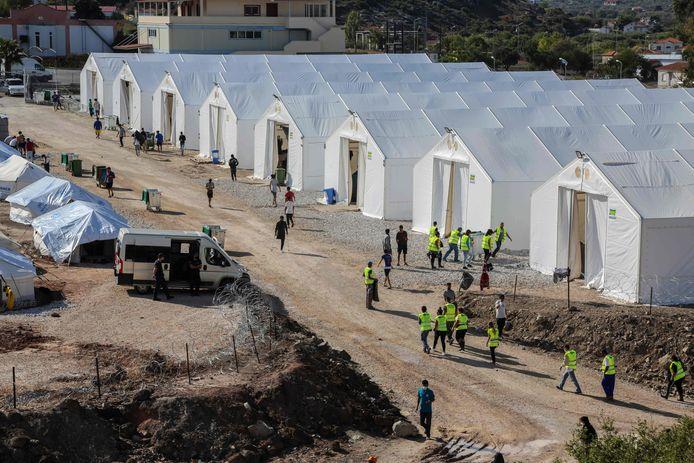 Het Kara Tepe camp voor vluchtelingen op Lesbos.