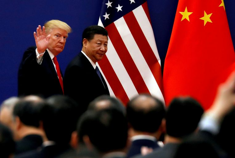 Archiefbeeld. De Amerikaanse president Donald Trump en zijn Chinese collega Xi Jinping.