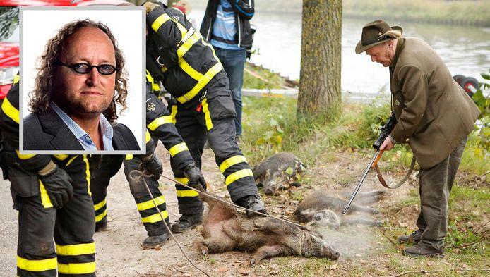 Een jachtopziener van Rijkswaterstaat schiet een wild zwijn dood nadat het dier door de brandweer uit het water in de Zuid-Willemsvaart is gehaald. In totaal acht wilde zwijnen zijn afgeschoten. Inzet: Dion Graus.