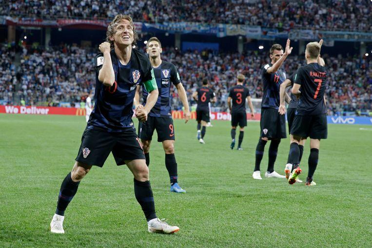 Luka Modric na afloop van het 2-0-doelpunt dat hij scoorde.  Beeld AP