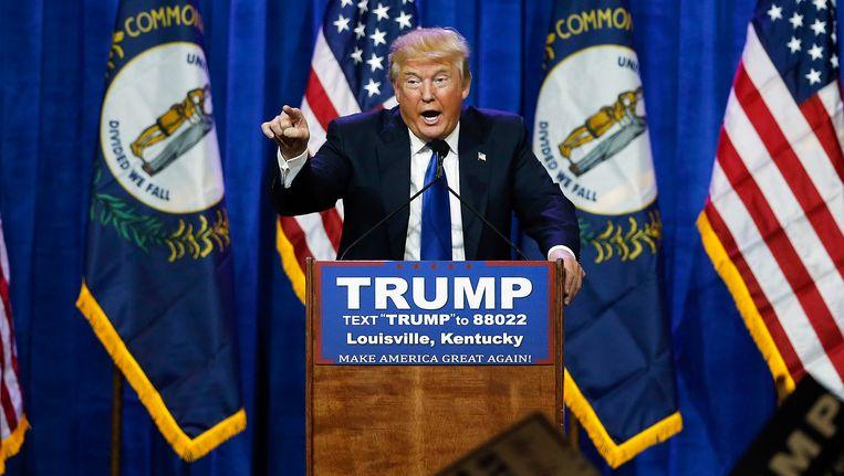 Trump tijdens de bewuste campagnebijeenkomst in Louisville, Kentucky op 1 maart 2016.