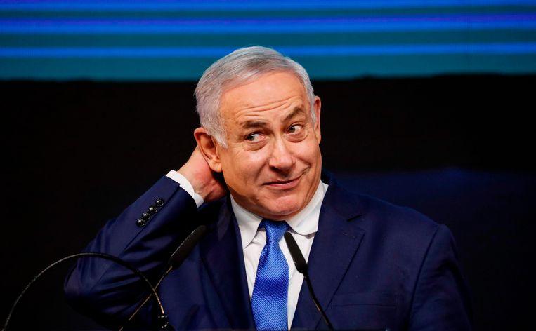 Israëlisch premier Benjamin Netanyahu tijdens een partijbijeenkomst op het hoofdkantoor van zijn Likud-partij in kustplaats Tel Aviv. (10/04/2019).