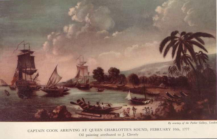 Een olieverfschilderij van Cook's aankomst in het zuiden van Nieuw-Zeeland, op 10 februari  1775. Beeld Getty Images