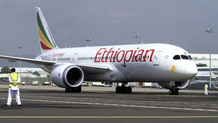 Een toestel van Ethiopian Airlines in Addis Abeba, de thuishaven van de maatschappij.