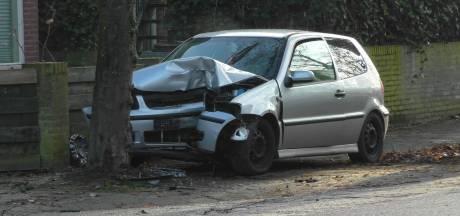 Auto rijdt verkeersbord omver en komt tot stilstand tegen boom in Oss