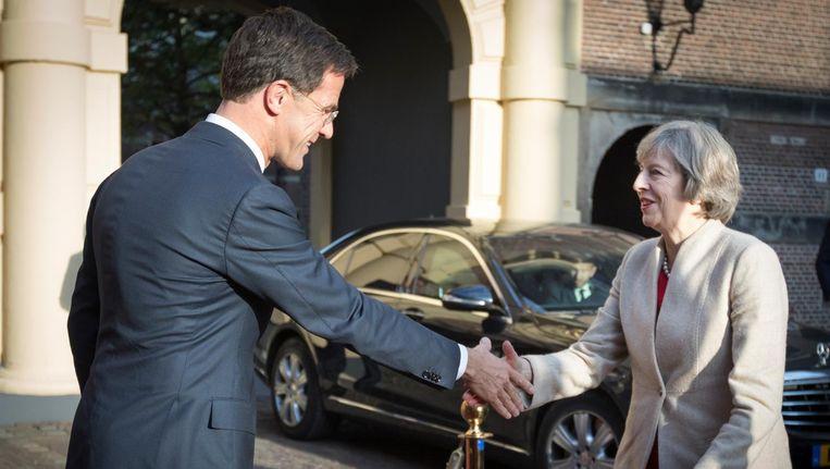 Premier Mark Rutte ontvangt minister-president Theresa May van het Verenigd Koninkrijk voor een kennismakingsbezoek. Beeld anp