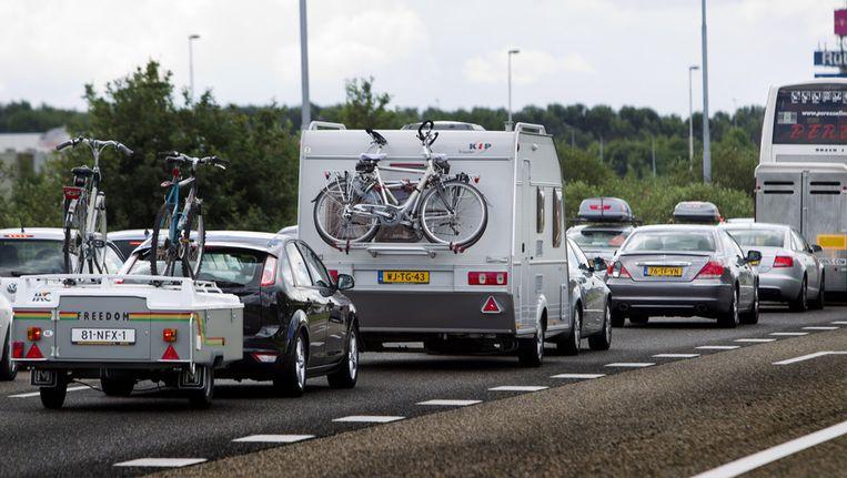 Foto van vakantiedrukte bij de grens met België, eind juni vorig jaar. Beeld ANP