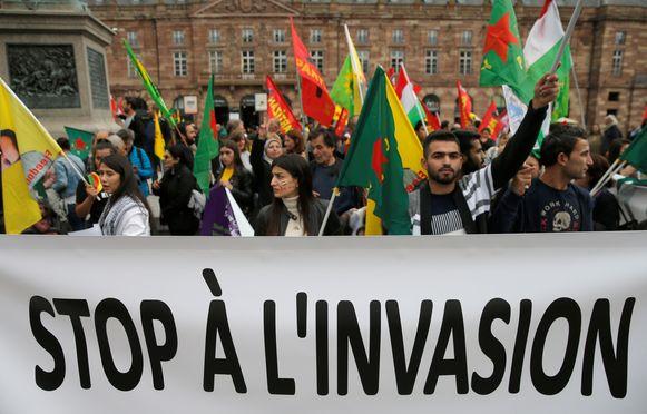 Koerdische betogers (foto van een betoging in Straasburg, niet Brussel)