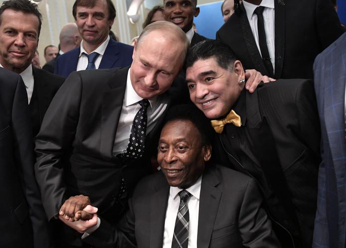 Pele met de Russische president Vladimir Poetin en Maradona
