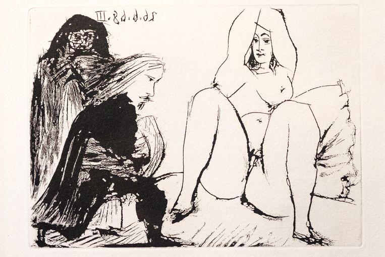 "Tentoonstelling Picasso: La Calestina -Life between the Lines, rond 63 ""Celestines"" uit Picasso's Suite 347 van 1968. In picture:"
