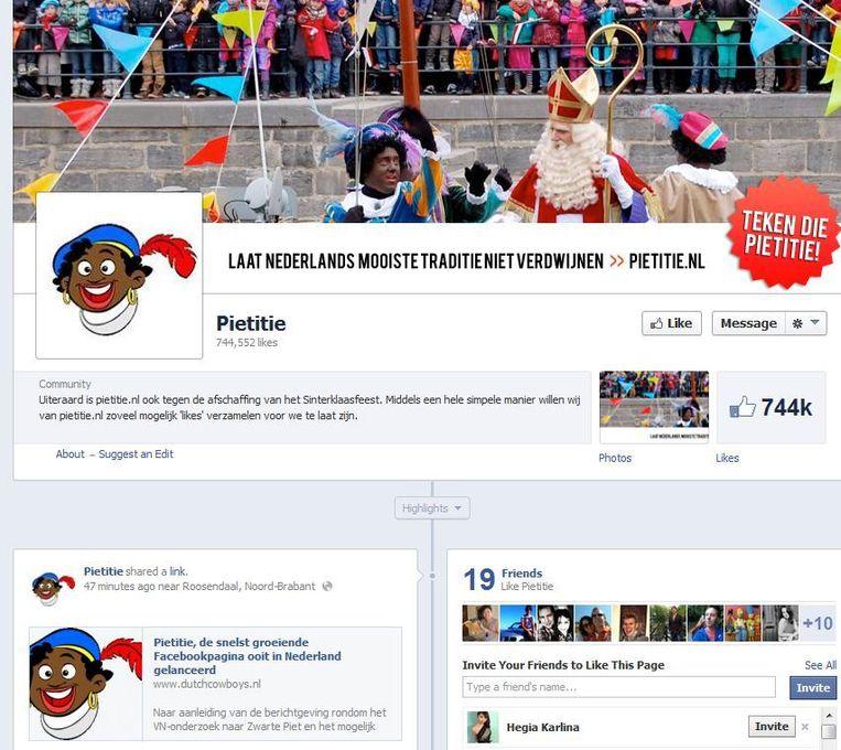 Screenshot van de Facebookpagina Pietitie. Beeld Facebook.com/pietitie